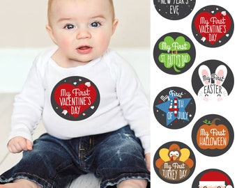 Baby's First Holidays Milestone Stickers - Set of 8 - First Halloween, First Easter, First Christmas, First Valentine's Day