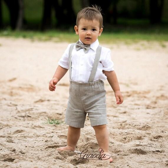 Baby boy suspenders suit Ring bearer outfit Boy linen suit