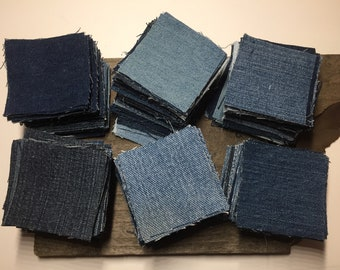 Denim Squares Blue Jean Quilt Squares Quilting Hand Cut Patchwork Denim Quilt Squares Precut Denim Sewing Quilting Repurposed Precut Fabric