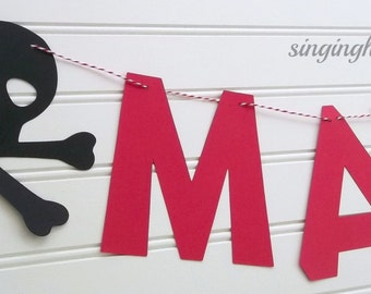 Ahoy Matey pirate banner, pirate birthday banner, pirate name banner, pirate birthday party, skull banner, skull party decor, red and black
