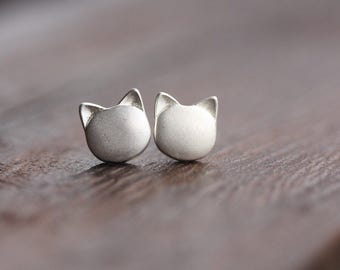 Valentine's SALE. Little Kitty Cat Sterling Silver Earring Studs