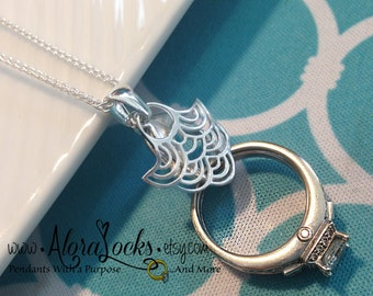 AloraLocks Ocean Waves Wedding / Engagement Ring or Charm Holder Pendant - Sterling Silver