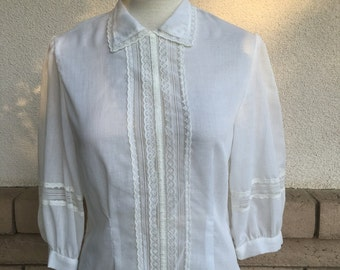 Sheer Victorian Blouse w/Lace . 1970's Hippie Button Back Top Size Small