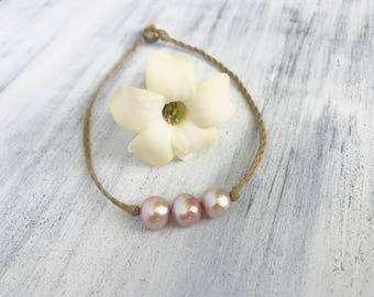 Pink pearl anklet with puka shell clasp - handmade in Hawaii