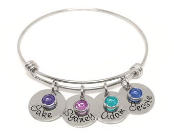 Adjustable Bangle Bracelet- Personalized Bracelet- Name Bracelet- Birthstone Bracelet- Custom Name Jewelry- Mother's Jewelry- Wire Bangle