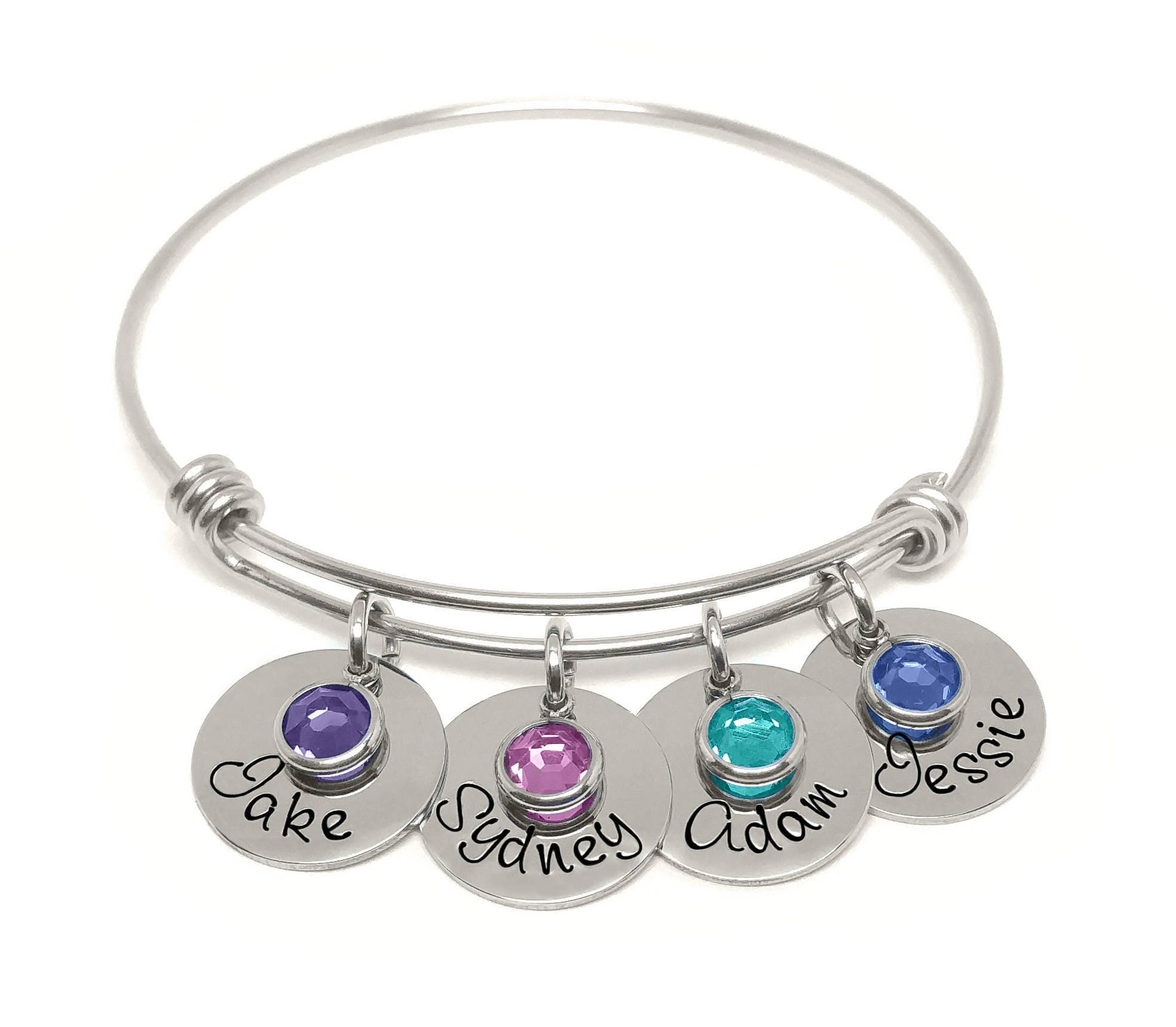 Personalized Bracelet Charms: Adjustable Bangle Bracelet- Personalized Bracelet- Name