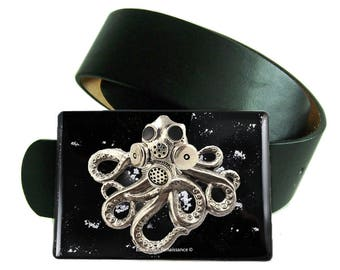 Poulpe avec boucle de ceinture de masque à gaz incrusté peinte à la main en émail brillant noir avec Design Splash argent d'inspiration victorienne industriel