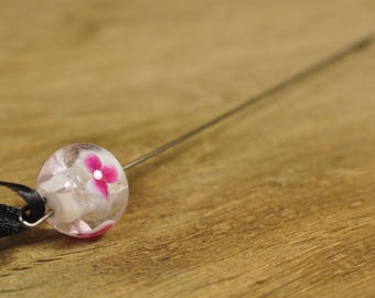 Spinner's Fetch Hook (Orifice hook), Lampwork Glass: Pink Flowers, White with Sparkle