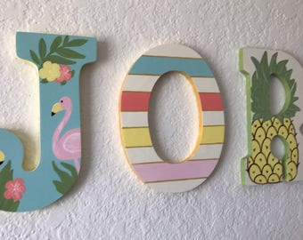 Custom Painted Girl's Wall Letters - Flamingos and Pineapples