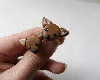 Dog Jewelry Gift, Puppy Jewelry, Chihuahua Jewelry, Pet Lover Jewelry, Chihuahua Lover Gift, Cute Animal Studs, Chihuahua Gift, Dog Studs