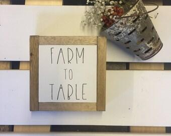 Farm To Table Sign - Farmhouse Kitchen Sign - Farm Sign - Farmhouse Sign - Wooden Sign