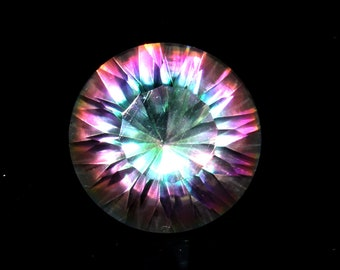 9.90 Carat AAA+ Natural Multi Color Mystic Topaz Faceted Round Loose Gemstone, Top Quality Mystic Topaz Concave Cut Gemstone, 15x19 mm