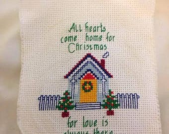 Home for Christmas Finished Cross Stitch
