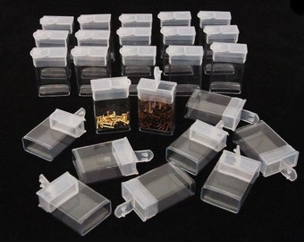 """Pack of 25 Rectangle Clear Plastic Storage Tubes With Flip Tops 1.5"""""""
