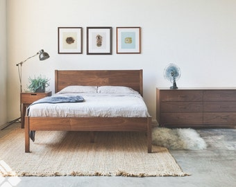 Solid Walnut Wooden Bed Frame And Headboard Set Modern