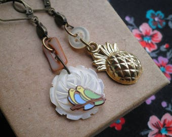 Vintage Pineapple Love Birds Dangle Earrings - Mother of Pearl Button & Flower Charm Mismatched Retro Dangle Earrings Tropical Jewelry Gift