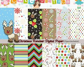 Christmas Digital Papers- Reindeer Digital Scrapbook Papers - Reindeer Digital Printable Papers - Reindeer -candy canes Digital Papers