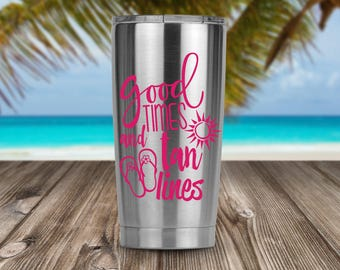 Good Times and Tan Lines Decal - Car Decal - Window Decal - Beach Decal - Summer Decal - Flip Flops - Sun Decal - Yeti Decal - Sticker