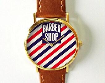 Barber Shop Watch , Men's Watch, Watches for Men, Vintage Style Leather Watch, Women Watches, Unisex Watch, Boyfriend Watch, Red Blue
