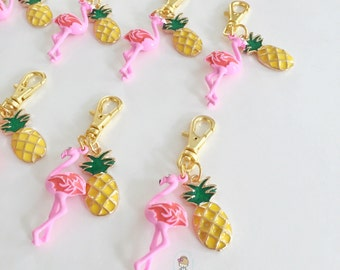 flamingo + pineapple zipper charm [a marine parents exclusive!]