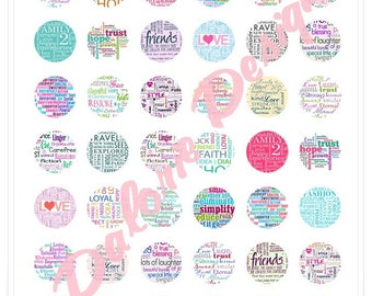 25 mm, words, Collage, Digital Images - words - Board for round cabochons 25 mm