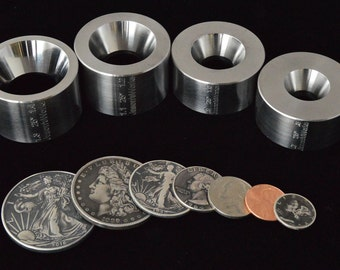 """FULL SET! Four Universal Reduction dies for the """"Fat Tire Look"""" and small sizes for all coins  .7"""" to 1.4"""" @ 25 degrees"""