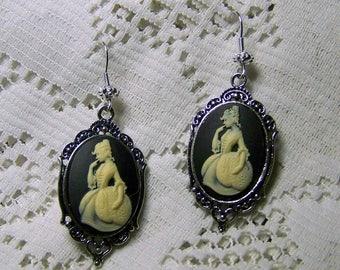 Marie Antoinette Earrings - French Revolution France Paris - Martha Washington Colonial Era Reenactment Antiqued Silver Statement Earrings