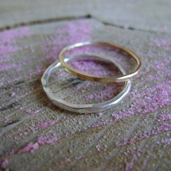 Short Stack - simple pair of stacking rings in sterling and gold-fill - made to order
