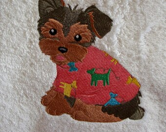 Yorkshire Terrier dog hand towel embroidered towel
