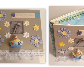 Baby Boy's First Year Scrapbook Album 9x9 20 Pages with Bonus Hardcover Album