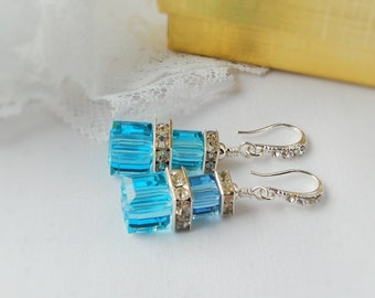 FREE SHIPPING Crystal Cube Earrings, Turquoise Swarovski Cube Crystal Earrings  with Silver Plated Squardelles and Rhinestone Ear Hooks
