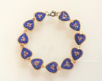 Vintage Gold Tone Multi Floral Heart Micro Mosaic Bracelet