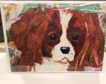 The Cavalier (1) 5x7 Linen Notecard of my original paper painting Collage