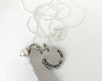 LDS Mormon Missionary Mom Disc with State Called to Serve In Hand Stamped Necklace-- All 50 States