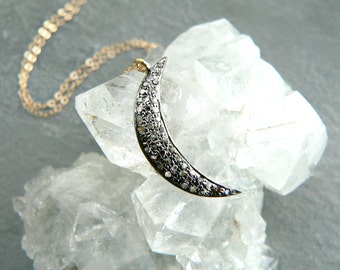 Topaz Crescent Moon Gold Necklace