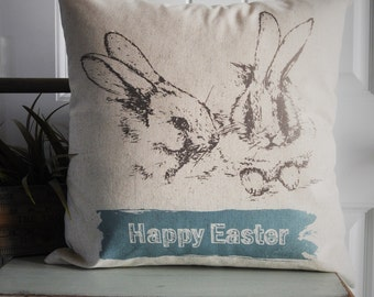 SALE, Ships in 2 days, Easter Pillow Cover, Spring pillow, Happy Easter, Rabbit pillow cover, bunny pillow cover, 18x18