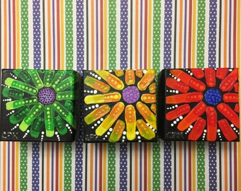 """ABSTRACT FLOWERS - set of 3 minis- Original Acrylic Painting - 3"""" X 3"""" x 1.5"""""""