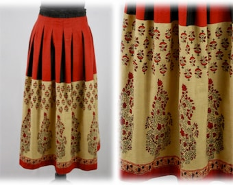 Vintage Border Print India Cotton Drawstring Skirt