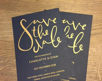 Personalised Save the Dates - A6 - Available in metallic gold riso print - Wedding