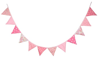 3.2M 12 Pink flags Bunting Kid's Birthday Banner Party Decoration Bunting Photo Prop Cotton Fabric Garland Vintage Room Decor