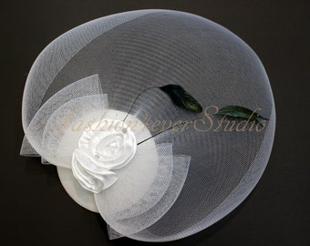 White Headpiece 11 inches, Flower Fascinator, Feather Headpiece, Flower Fascinator, Feather Fascinator, With Hair Clip and Brooch Pin Back