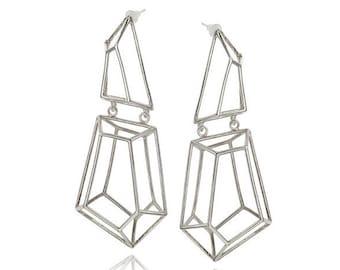 Geometric Earrings, Pearl Earrings, Statement Silver Earrings, Bridal Long Earrings, Gifts for Her, Dangle Earrings, Silver stud earrings