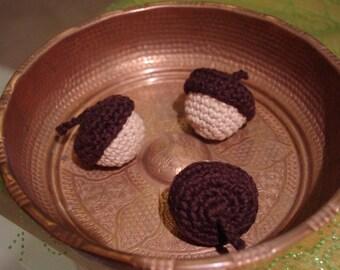 Crocheted Catnip Stuffed Acorns (Set of 3)