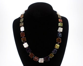 Square Pearls Necklace in Rich, Lustrous Colors