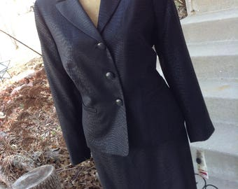 Vintage hipster ladies black leopard print suit size 12 free domestic shipping perfect for mother of the bride