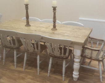 Rustic 8 seater Farmhouse dining table with reclaimed top and painted base with 8 chairs made to measure pine custom country kitchen chic