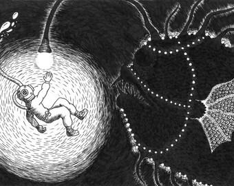 Diver and Fish - 8x10 Print