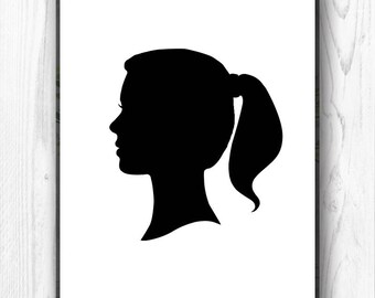 Custom Silhouette Portrait From Your Photograph, Kids Silhouette, Personalized Silhouette, Children's Silhouette - DIGITAL PRINTABLE JPEG