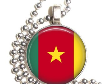 Cameroon Flag Art Pendant, Earrings and/or Keychain, Round Photo Silver and Resin Charm Jewelry, Flag Earrings, Flag Key Fob