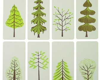 GREEN TREE CARDS Letterpress Prints with Envelopes cards holiday christmas trees